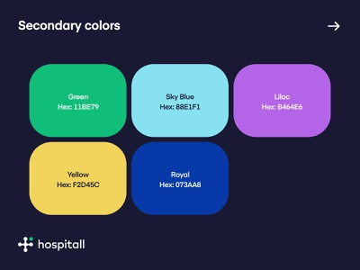 Hospitall - Color Exploration 1 medical healthcare visual identity typography product design web design user interface user experience interface dashboard ui ux design swatch color palette color guide colors