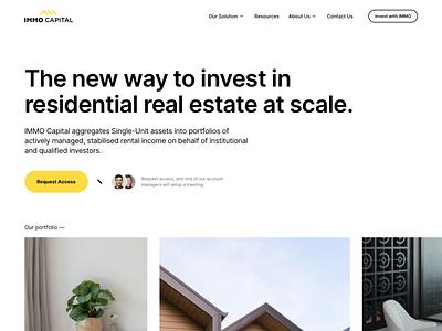 Immo Capital - Home Ver #1 design user experience logo branding app finance investment technology property real estate b2b cms balkan brothers development website web design product design ux ui