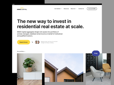 Immo Capital - Home Ver #1 design user experience logo branding app finance investment technology property real estate b2b cms balkan brothers development website web design product design ux ui