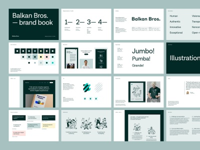 BB - Brand Book #2 illustrations guidebook brand architecture branding wordmark logotype logo balkan bros agency design style guide color typography brand copywriting tone of voice design system graphic design visual identity brand book