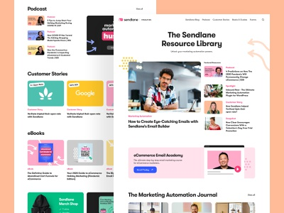 Sendlane - Resources customer stories podcast bbagency website email marketing development webflow design user experience ui ux visual identitiy branding product design web design b2b saas articles blog resources