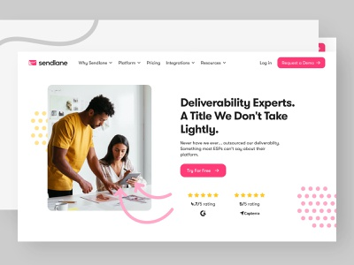 Sendlane - Deliverability and World Class Support colors email marketing website user interface animation development webflow bbagency design ui ux user experience discovery brand strategy visual identitiy b2b saas branding web design product design