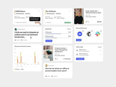 Nexudus - Dashboard bbagency icons dashboard 4px modules typography colors design system management workspace booking product design website app web design ux ui user experience user interface