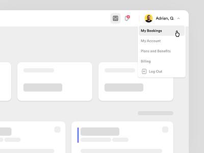 Nexudus - Navigation navigation drawer dashboard interface app ux ui website design web app product design user experience user interface spacing grid dropdown sidebar navigation bar menu user flow navigation