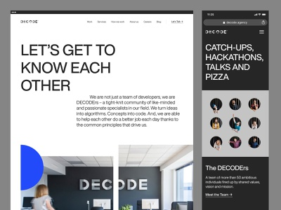 DECODE - About Us logo branding design marketing typography user experience user interface bbagency agency careers team about us development wordpress cms website web design product design ux ui