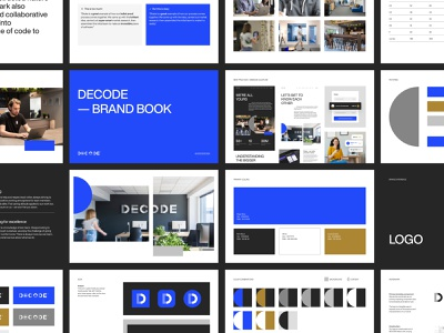 DECODE - Brand Book bbagency design graphic design brand scale proportions sizing photography design system colors patterns logo visual identity brand book branding