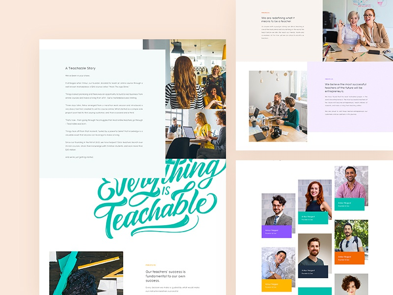 Teachable - About us clean experience user ux teachable about us website design web