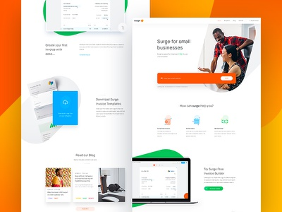 Surge - Homepage Designs surge invoice clean page landing home website design web experience user ux
