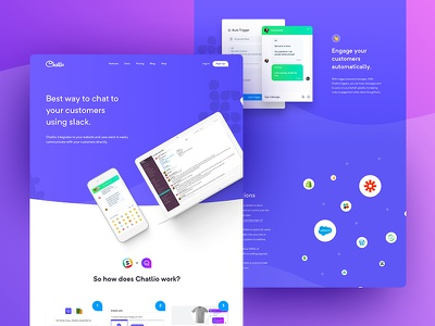 Chatlio - Features gradient clean landing page ui user experience ux chat website web design