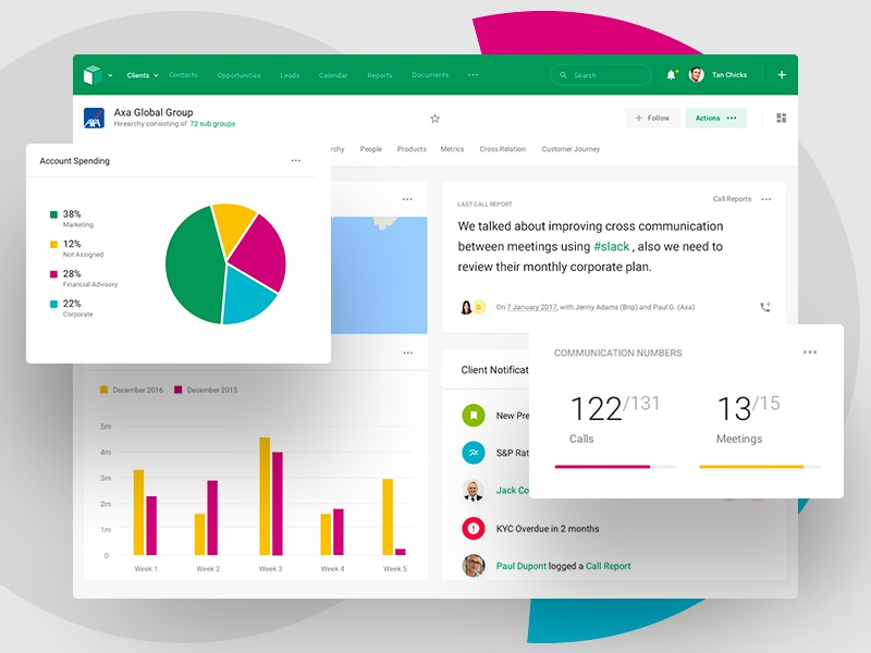 BNP Paribas - Client Overview 360 bank client crm app web design interface  user analytics dashboard