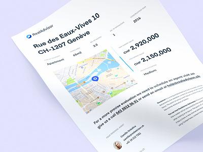 Real Advisor - Estimate A4 - PDF quote real estate branding design stationery print pdf a4 property estimate paper