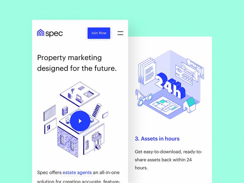 Spec - Mobile responsive app mobile illustrations real estate property design web website ux ui