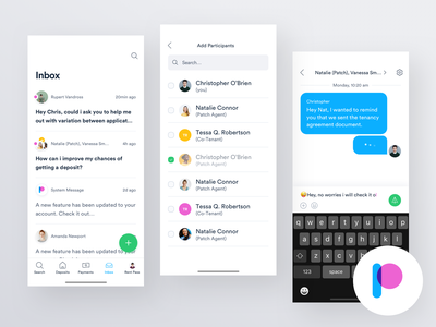 Patch iOS - Messaging dashboard ui design ux design user experience experience user interface user interface messaging chat inbox app design ios app mobile app ux ui