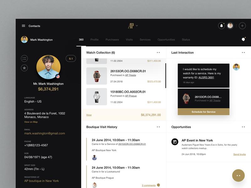 Audemars Piguet - Customer 360 - Exploration #1 web web app design sprint colors exploration interface crm overview client watchmaker watch dashboard ux design ui design design user experience user interface ux ui