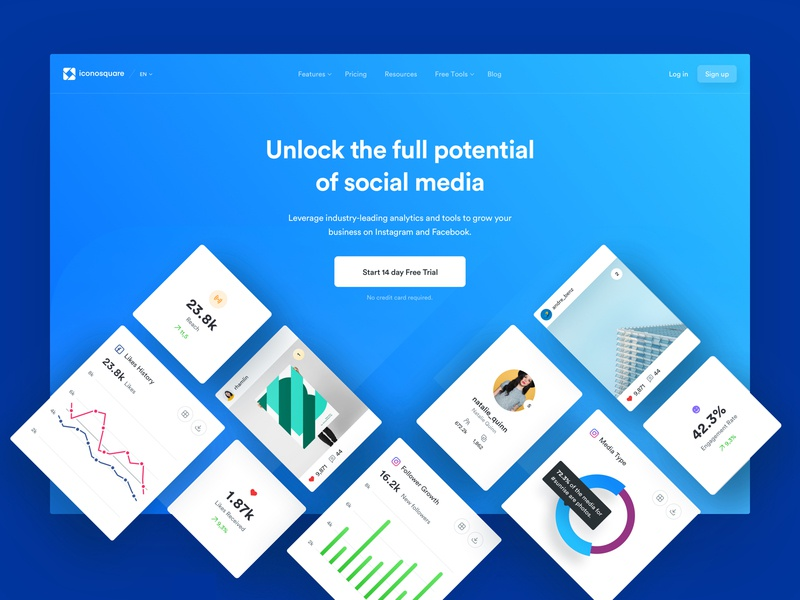 Ico - Homepage website page landing lander mobile app ui ux experience interface user dashboard tables charts analytics media social design web