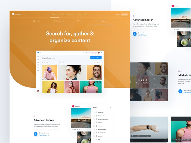 Ico - Features - Content page landing ui kit design system dashboard interface experience user media social product feature lander app ux ui design web