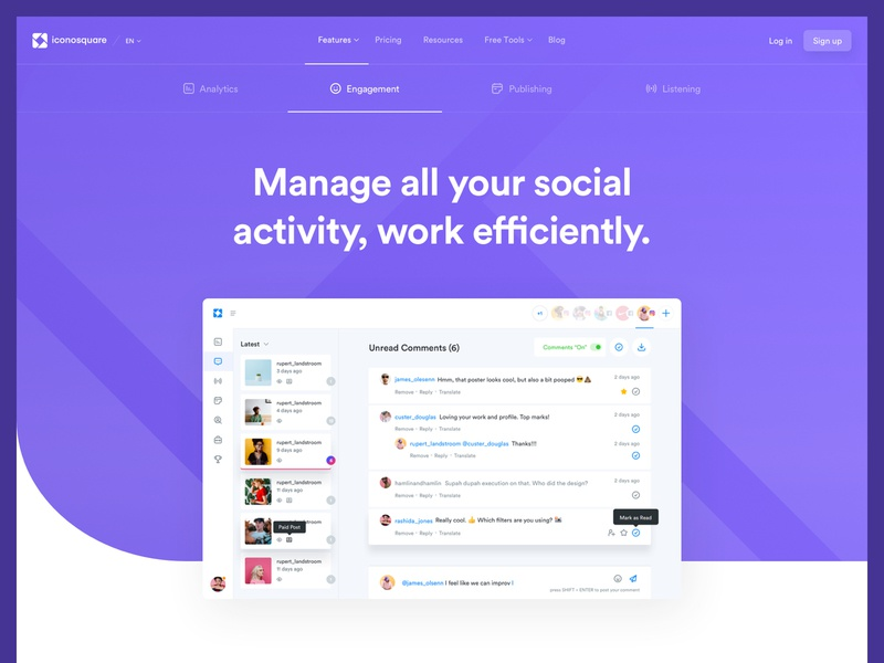 Ico - Features - Engagement web design ui ux app lander feature product social media user experience interface dashboard design system ui kit landing page