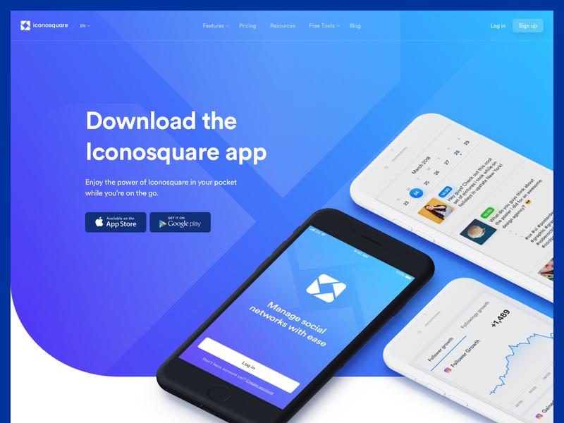 Ico - Mobile App Lander website mobile web design ui ux app lander product social media user experience interface dashboard design system ui kit landing page
