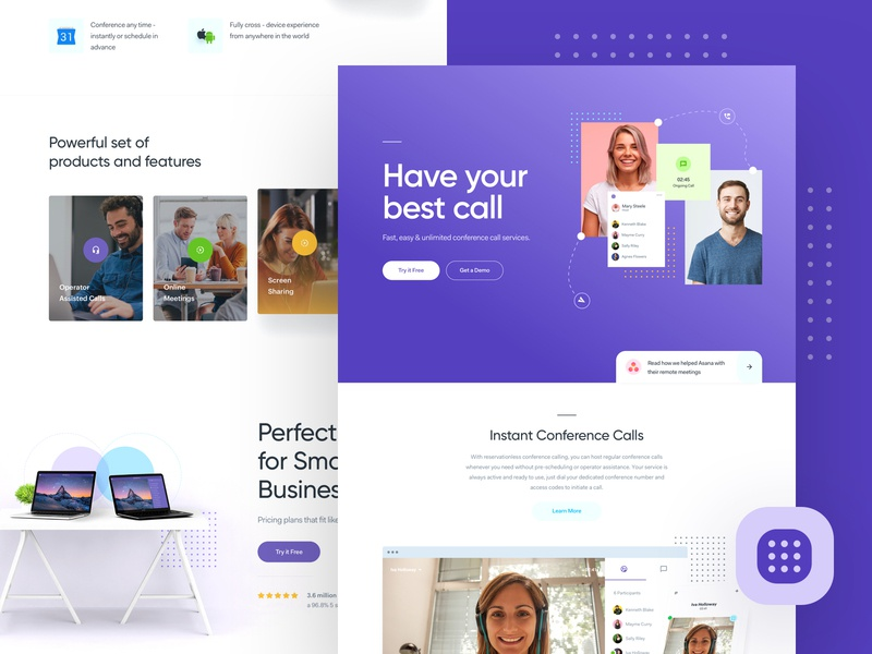 CC - Website Exploration color scheme user interface user experience ui ux page landing lander design website web video chat call conference