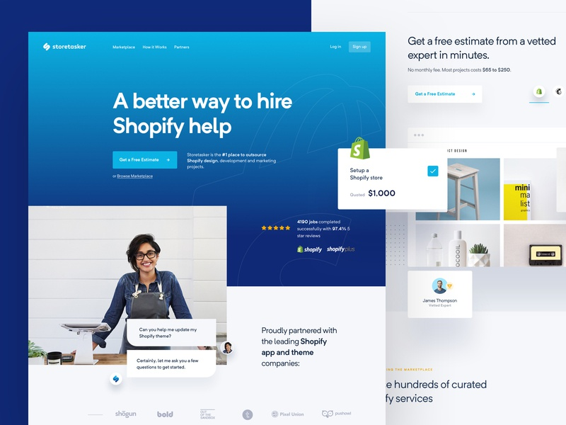 StoreTasker - Website is Live! shopify logo brand branding visual language makreting landing page lander website design web dashboard research user user experience user interface ui ux