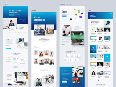 StoreTasker - Inner Pages homepage about us blog design system style guide typography experience interface user shopify lander landing page landing website design app web dashboard ux ui