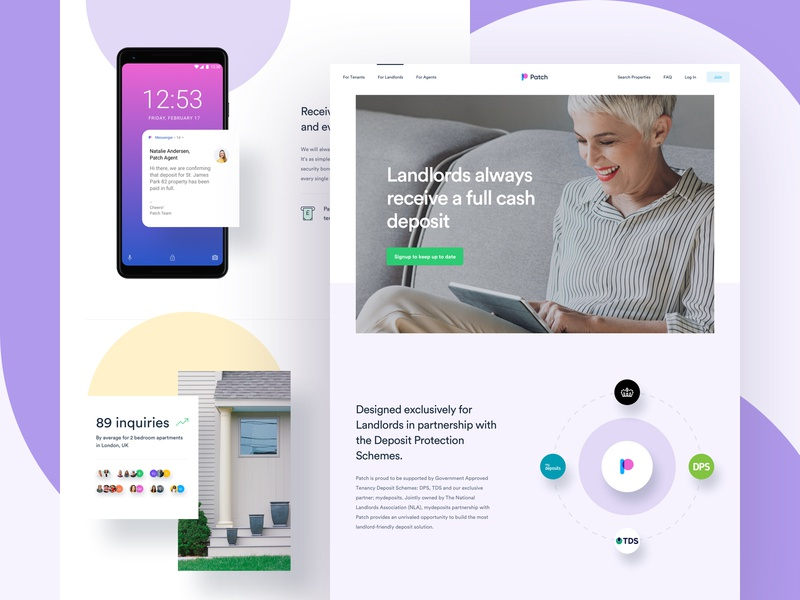 Patch - Landlord Landing Page app mobile illustration property landlord experience interface user typography homepage home page landing lander design web website dashboard ux ui