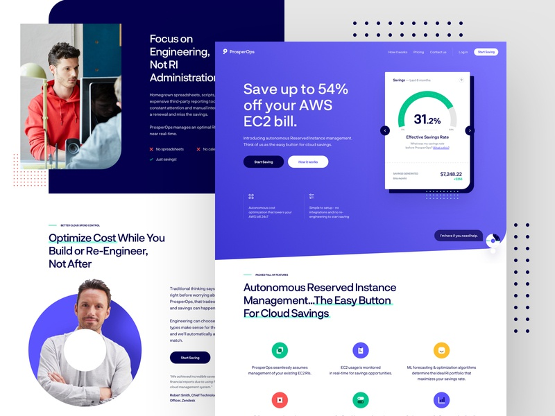 ProsperOps - Homepage Exploration #2 web design uidesign uxdesign ui ux website dashboard data chart illustrations interface experience user icons branding logo