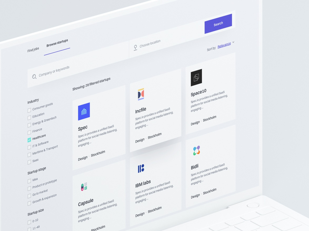 H - Startup Listing website app web design ui kit design system style guide user interface user experience startups listing dashboard ux ui