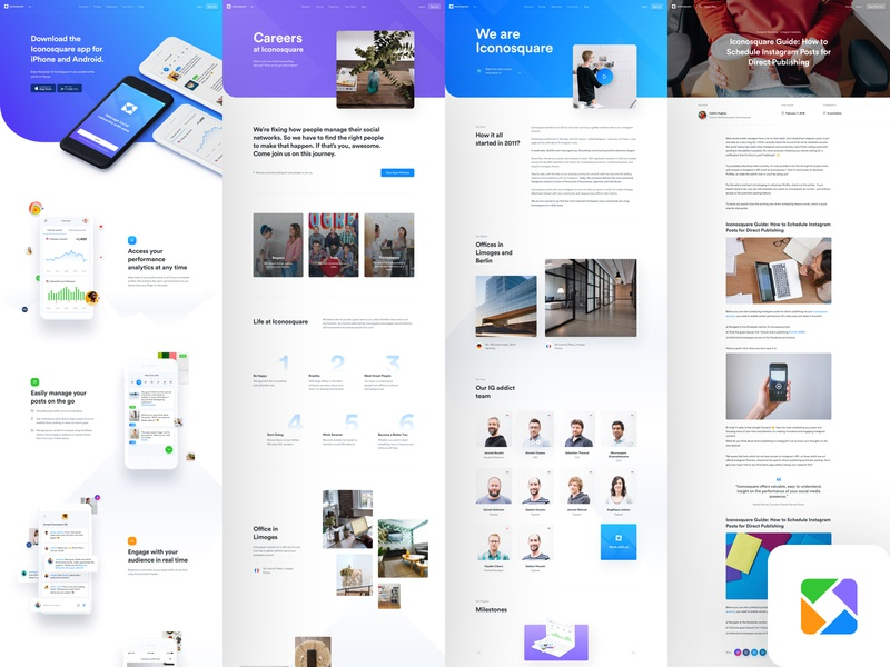Ico - Inner Pages page blog post blog careers about us marketing product social media dashboard user interface user experience ux ui design mobile app web app landing page website web design