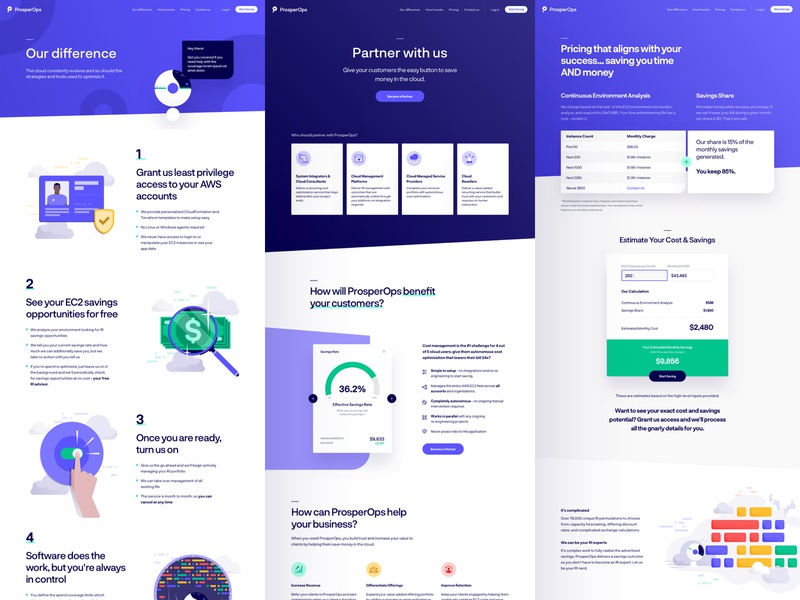 ProsperOps - Inner Pages dashboard balkan brothers iconography icons flat illustrations home page landing website app web product art illustration design user experience user interface ux ui
