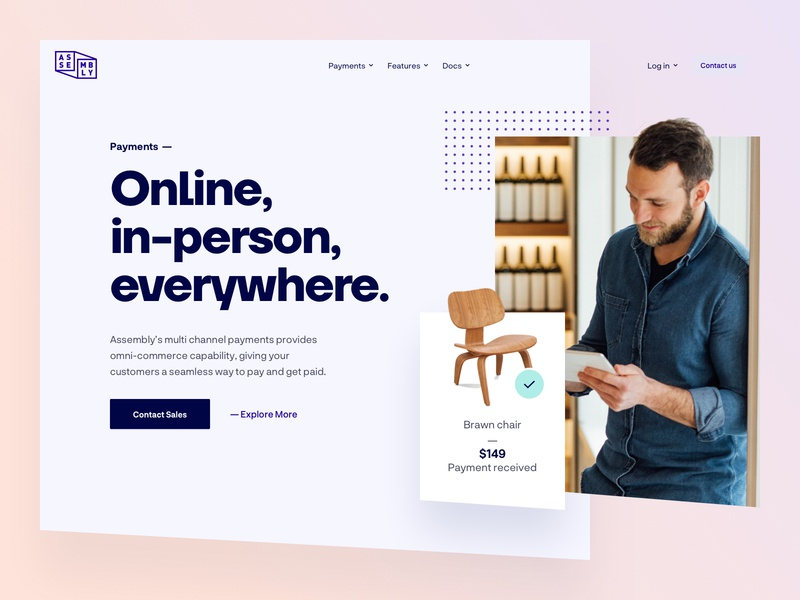 Assembly Payments - Home lander mockups pay payment app style guide gradient page user experience user interface dashboard design website web ux ui