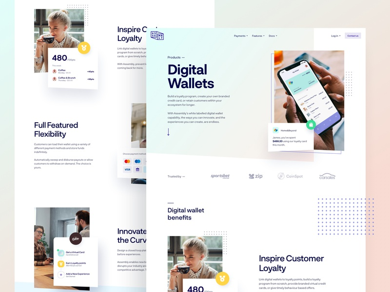 Assembly Payments - Digital Wallets gradient colors typography branding lander pay style guide payment experience user website interface app dashboard web ui design ux