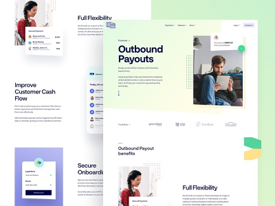Assembly Payments - Outbound Payouts landing app dashboard ux ui interface experience user graphic design website web style guide payment lander gradient branding typography colors