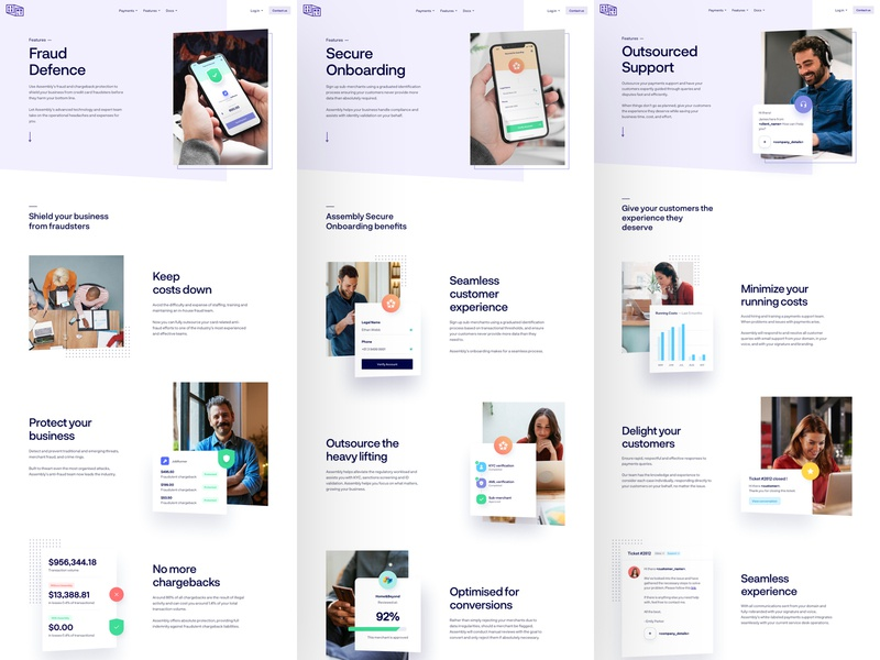 Assembly Payments - Feature Pages interface experience user app product business lander landing page modern clean shadows typography colors style guide design web website ux ui