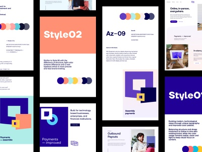 Assembly Payments - Style Explorations branding mockups website app design web user experience user interface ux ui ui kit design system colors scheme palette typography style guide art direction