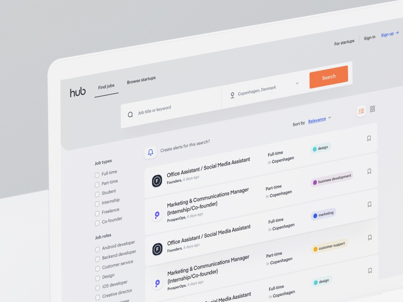 TheHub - Search Jobs 02 dashboard interface clean jobs search listing user experience user interface website web design ux ui