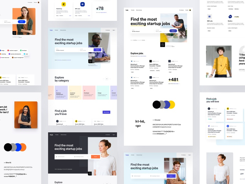TheHub - Web Style Exploration product design web design color pallet app design creative art direction visual exploration style web website design system typography colors style guide