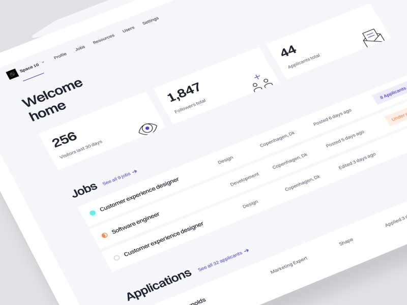 TheHub - Startup Home product design web design white clean interface app web design user experience user interface search find applicants work kanban jobs ux ui dashboard