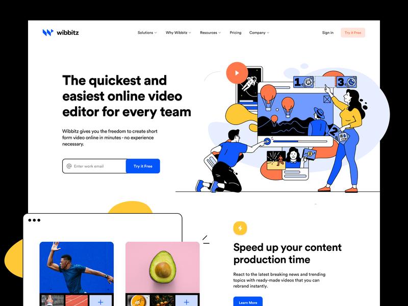 Wibbitz - Web Style Concept product design web design business illustrations user interface research user experience web design ux ui visual identity logo branding brand wordpress development cms website
