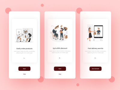 e-Commerce Mobile App Design welcome onboarding app design app ui design ui design mobile app ui mobile app design e-shop e-commerce fashion ui ux brand clean clothes product store minimal ios