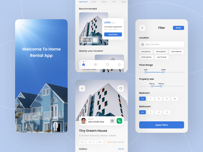 Home Rent Mobile App Design rent real estate property home apartment housing propertise home rent design app ui ux app ui design mobile app mobile app ui ui design app design clean home rent app minimal home rent app house rent app