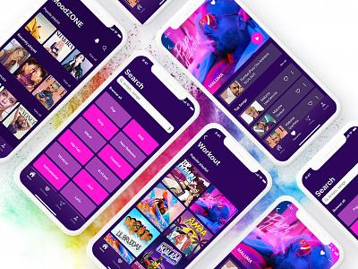 Music App MoodZONE work favourite inspiration love colors fun mood ux design ui design design app music mobile ux ui