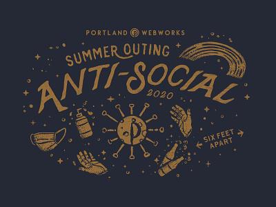 Summer Outing Anti-Social T-Shirt rainbowhunt design social happyhour sixfeet outing summer typography hands mask illustration shirt pandemic coronavirus covid
