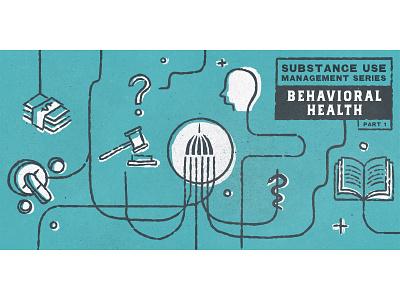 Blog graphic behavior health icons hand drawn government grunge texture illustration