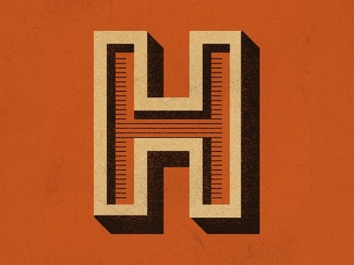 Letter H typography orange industrial type letterh dropcap
