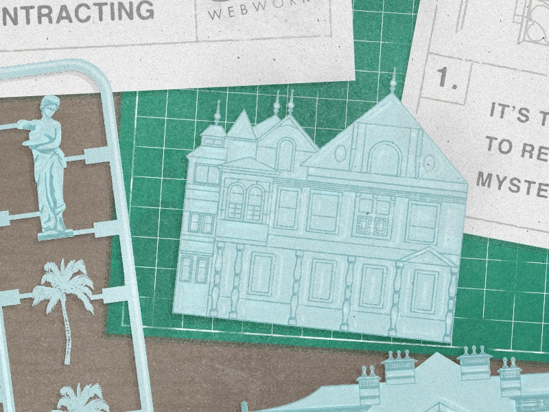 Winchester Mystery House post blog instructions kit model texture vector illustration winchester house
