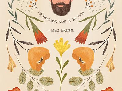 Henri Matisse quote spring floral flowers texture photoshop gouache digital painting matisse henri