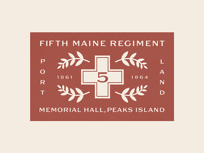 Fifth Maine Regiment portland peaks retro typography war civil victorian vintage texture illustration maine