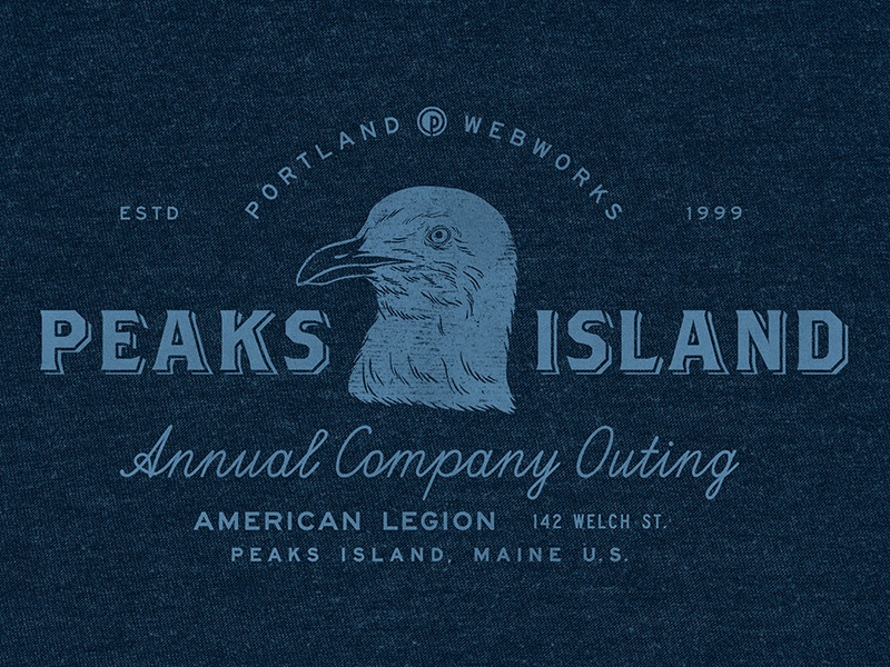 Summer Outing 2018 badge label seagull island outing typography design illustration maine peaks summer
