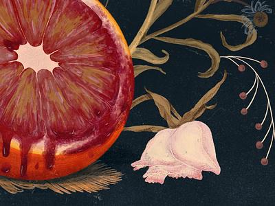 Bloody Fruit drip gouache flowers dead orange blood illustration design digital painting